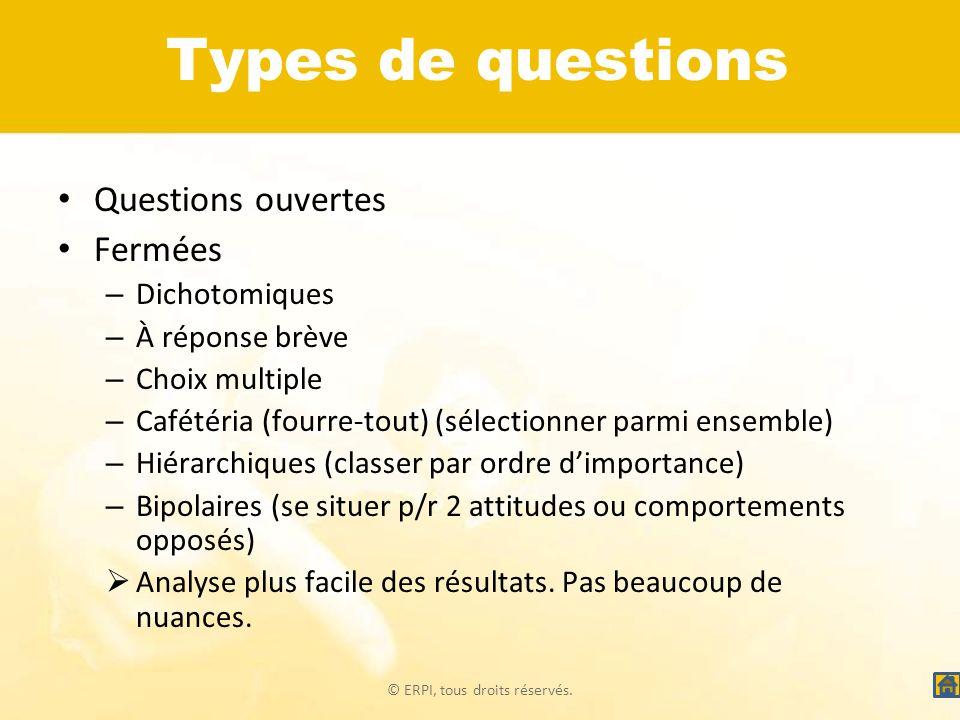 © ERPI, tous droits réservés. Types de questions Questions ouvertes Fermées – Dichotomiques – À réponse brève – Choix multiple – Cafétéria (fourre-tou