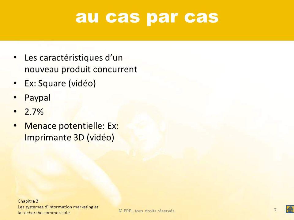 © ERPI, tous droits réservés. au cas par cas Les caractéristiques dun nouveau produit concurrent Ex: Square (vidéo) Paypal 2.7% Menace potentielle: Ex