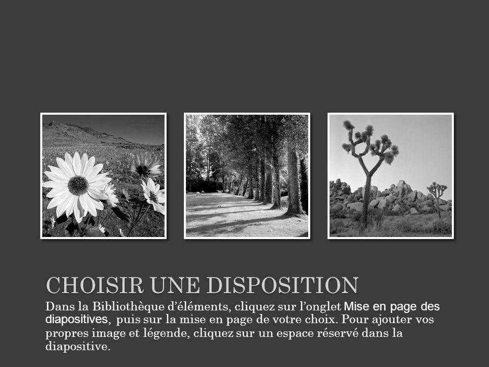 CHOISIR UNE DISPOSITION Dans la Bibliothèque déléments, cliquez sur longlet Mise en page des diapositives, puis sur la mise en page de votre choix.
