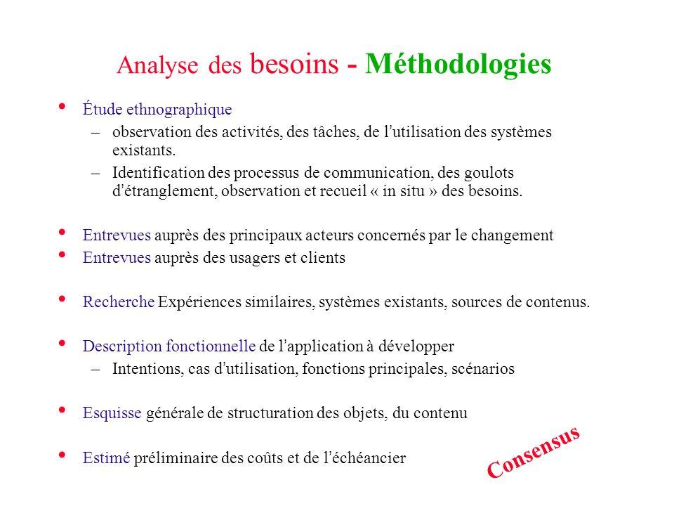Analyse des besoins - Méthodologies Étude ethnographique –observation des activités, des tâches, de lutilisation des systèmes existants. –Identificati