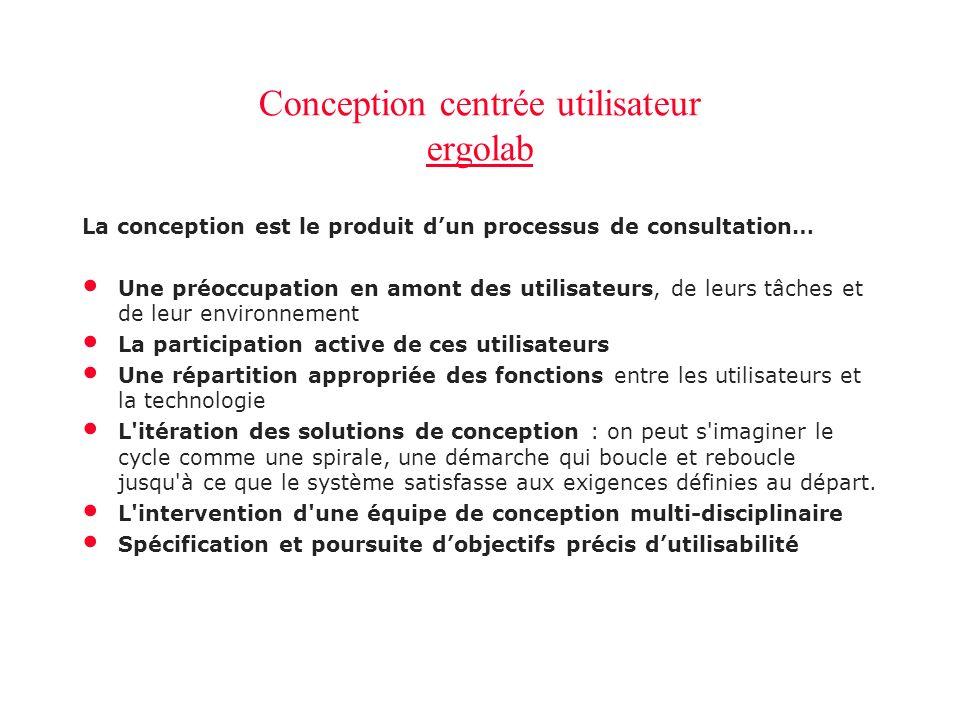 Conception centrée utilisateur ergolab ergolab Conception centrée utilisateur ergolab ergolab La conception est le produit dun processus de consultati