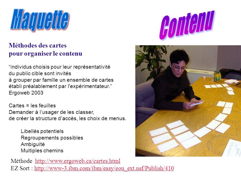 Méthodes des cartes pour organiser le contenu individus choisis pour leur représentativité du public cible sont invités à grouper par famille un ensem