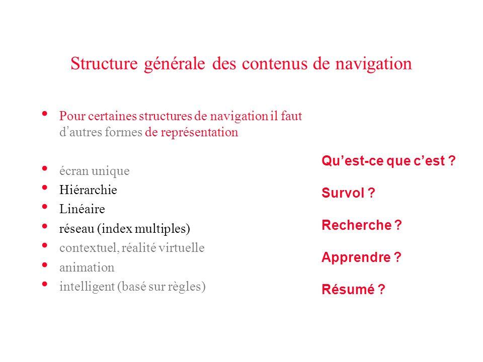 Structure générale des contenus de navigation Pour certaines structures de navigation il faut d autres formes de représentation écran unique Hiérarchi