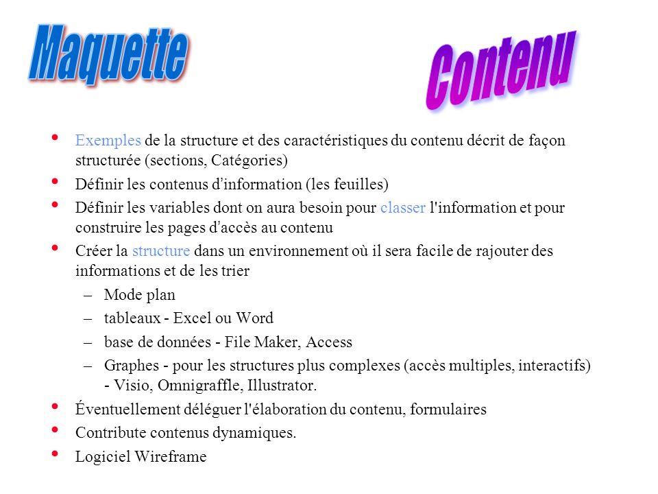Exemples de la structure et des caractéristiques du contenu décrit de façon structurée (sections, Catégories) Définir les contenus dinformation (les f