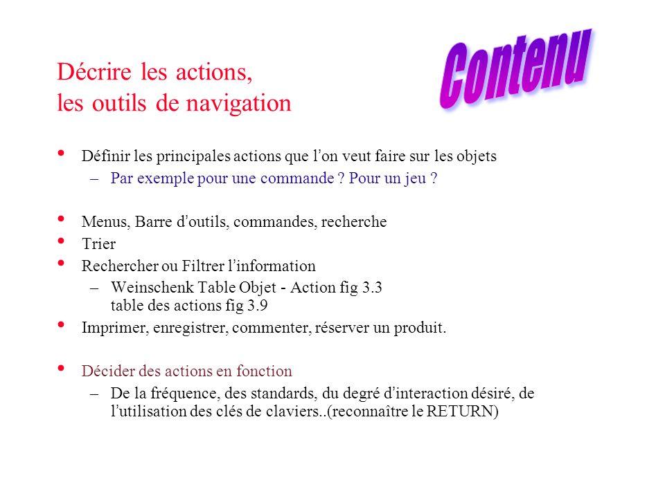 Décrire les actions, les outils de navigation Définir les principales actions que lon veut faire sur les objets –Par exemple pour une commande ? Pour