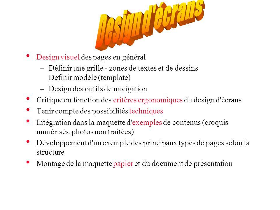 Design visuel des pages en général –Définir une grille - zones de textes et de dessins Définir modèle (template) –Design des outils de navigation Crit