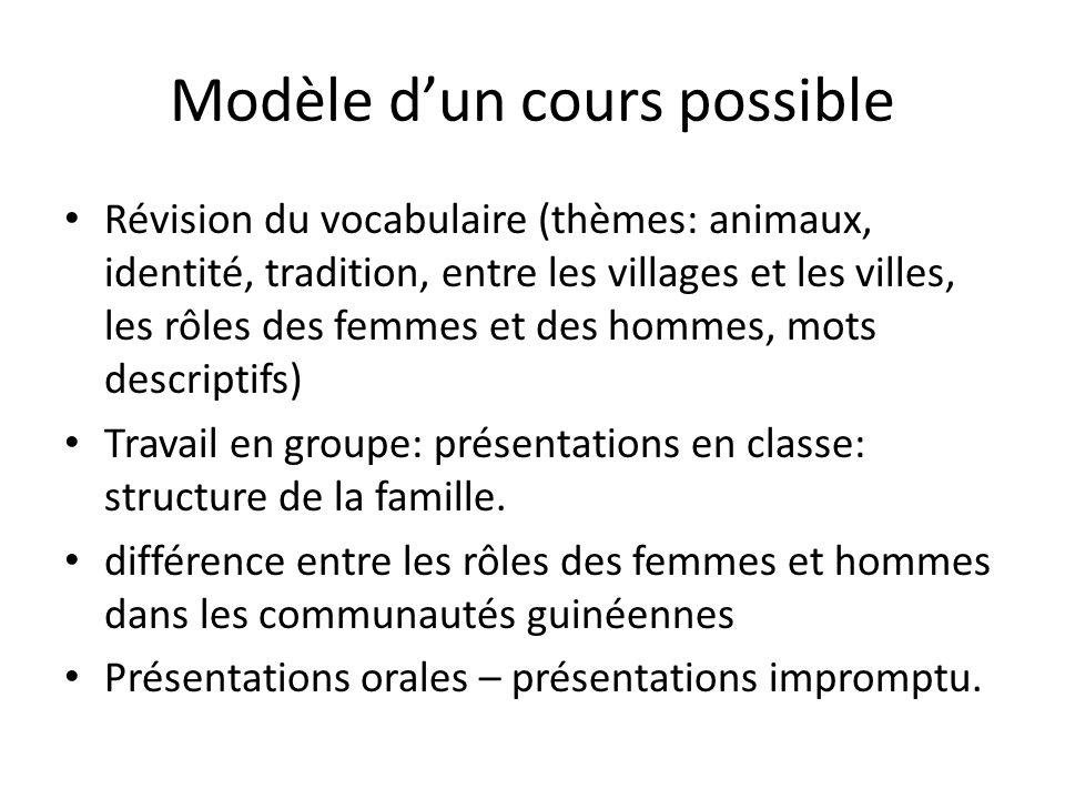 Modèle dun cours possible Révision du vocabulaire (thèmes: animaux, identité, tradition, entre les villages et les villes, les rôles des femmes et des