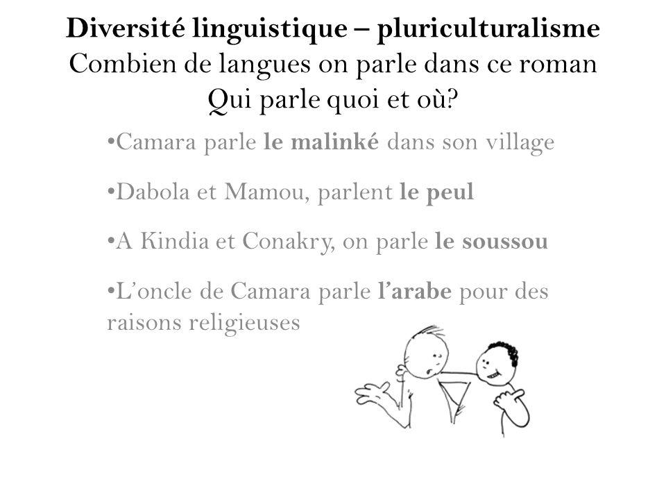 Diversité linguistique – pluriculturalisme Combien de langues on parle dans ce roman Qui parle quoi et où? Camara parle le malinké dans son village Da