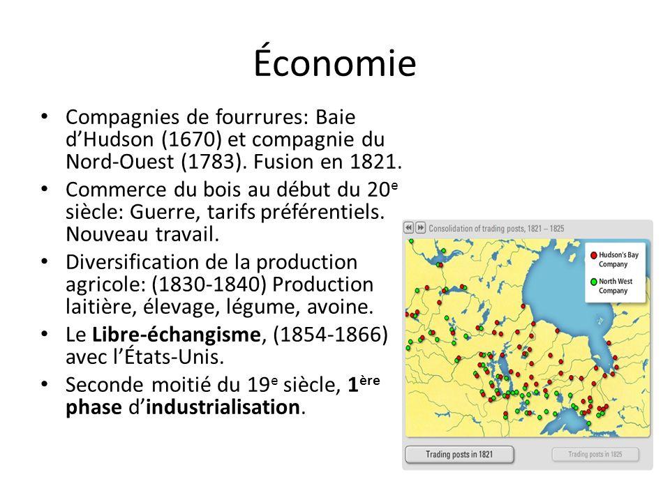 Économie Compagnies de fourrures: Baie dHudson (1670) et compagnie du Nord-Ouest (1783).