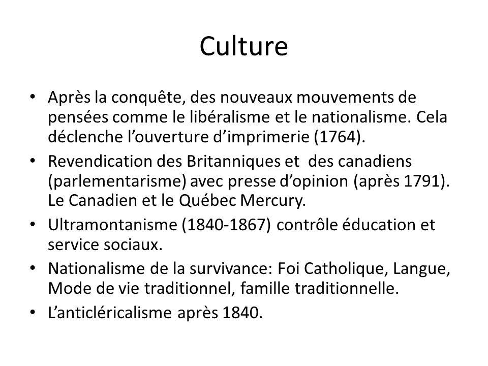 Culture Après la conquête, des nouveaux mouvements de pensées comme le libéralisme et le nationalisme.