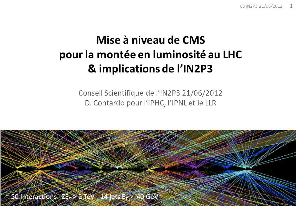 1 CS IN2P3 21/06/2012 Mise à niveau de CMS pour la montée en luminosité au LHC & implications de lIN2P3 Conseil Scientifique de lIN2P3 21/06/2012 D. C