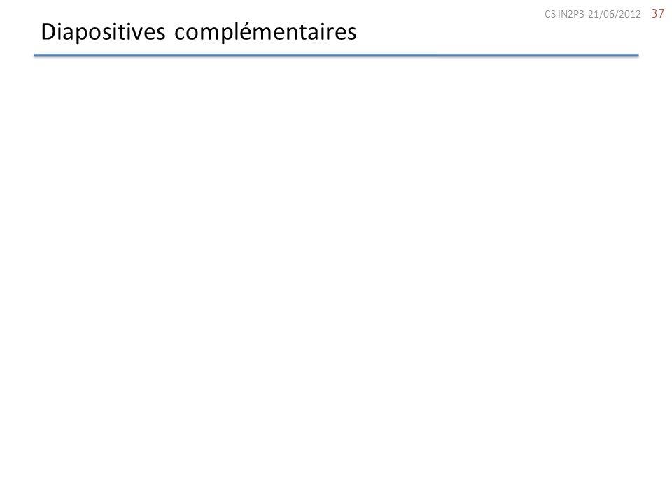 Diapositives complémentaires 37 CS IN2P3 21/06/2012