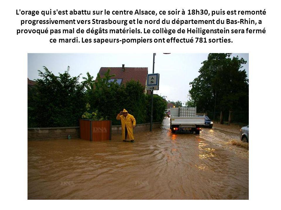 L'orage qui s'est abattu sur le centre Alsace, ce soir à 18h30, puis est remonté progressivement vers Strasbourg et le nord du département du Bas-Rhin