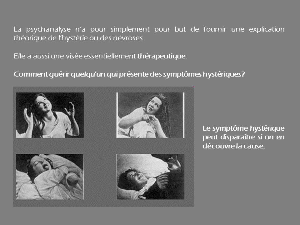 La psychanalyse na pour simplement pour but de fournir une explication théorique de lhystérie ou des névroses. Elle a aussi une visée essentiellement