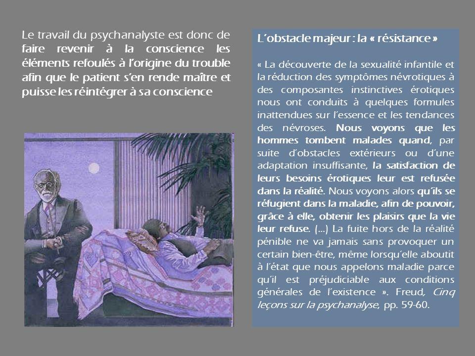 Le travail du psychanalyste est donc de faire revenir à la conscience les éléments refoulés à lorigine du trouble afin que le patient sen rende maître