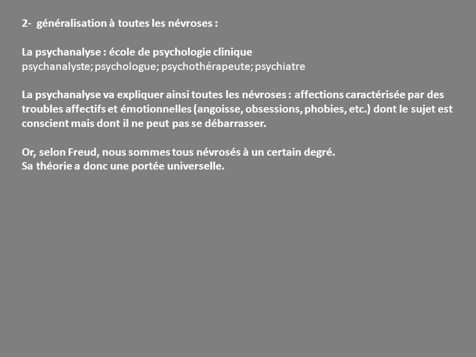 2- généralisation à toutes les névroses : La psychanalyse : école de psychologie clinique psychanalyste; psychologue; psychothérapeute; psychiatre La