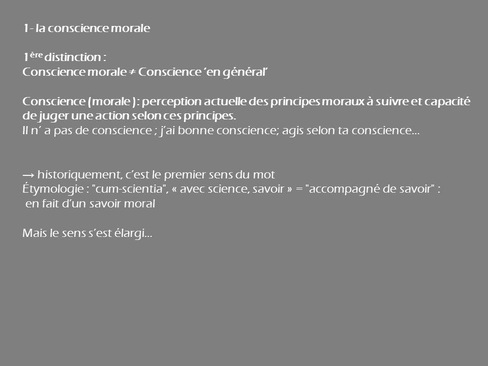 1- la conscience morale 1 ère distinction : Conscience morale Conscience en général Conscience (morale ): perception actuelle des principes moraux à s