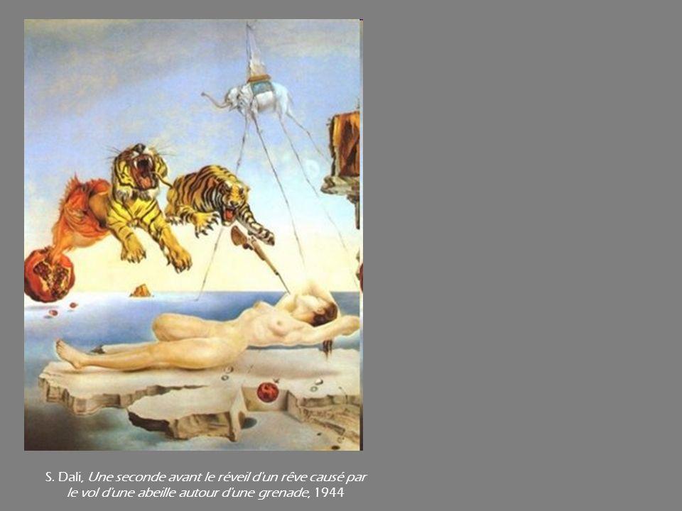 S. Dali, Une seconde avant le réveil d'un rêve causé par le vol d'une abeille autour d'une grenade, 1944