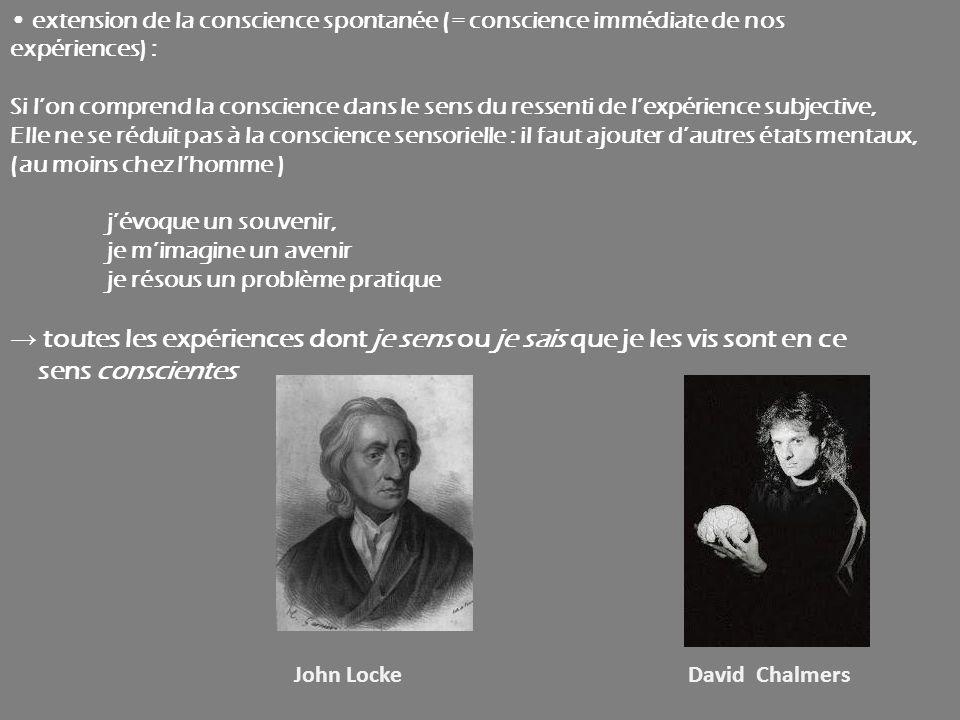 extension de la conscience spontanée (= conscience immédiate de nos expériences) : Si lon comprend la conscience dans le sens du ressenti de lexpérien