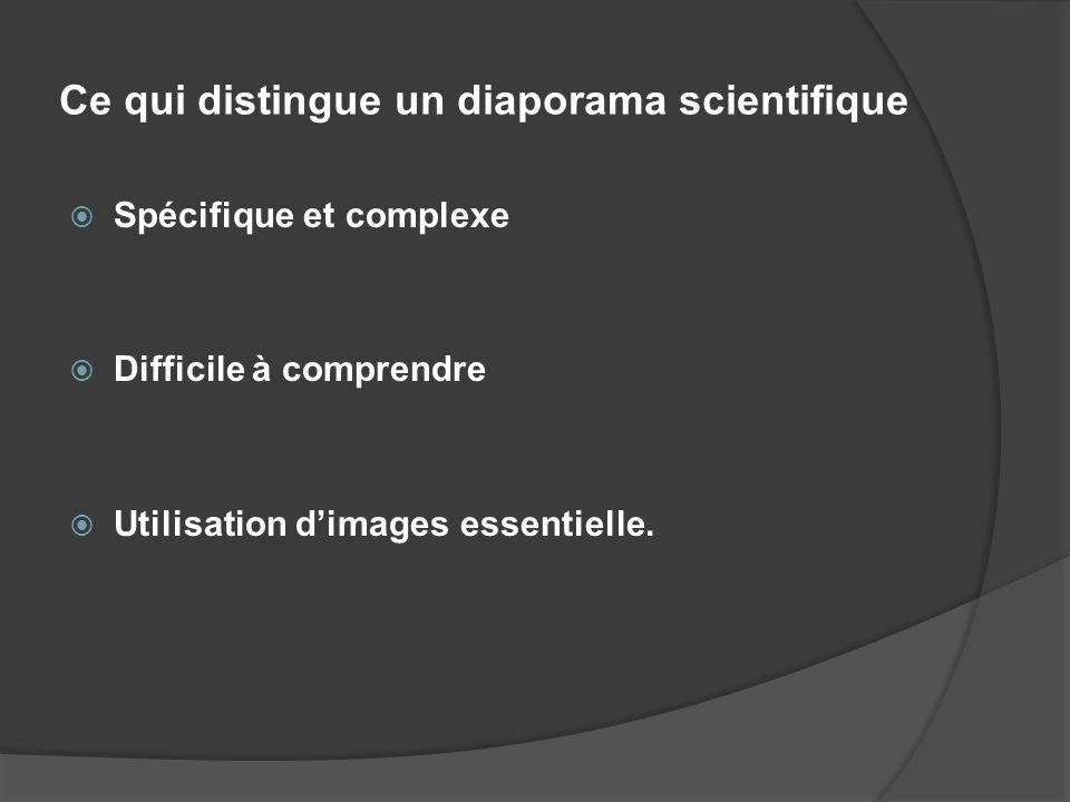 Ce qui distingue un diaporama scientifique Spécifique et complexe Difficile à comprendre Utilisation dimages essentielle.
