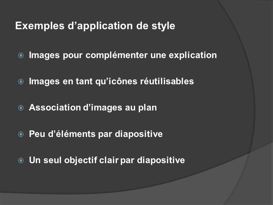 Exemples dapplication de style Images pour complémenter une explication Images en tant quicônes réutilisables Association dimages au plan Peu délément