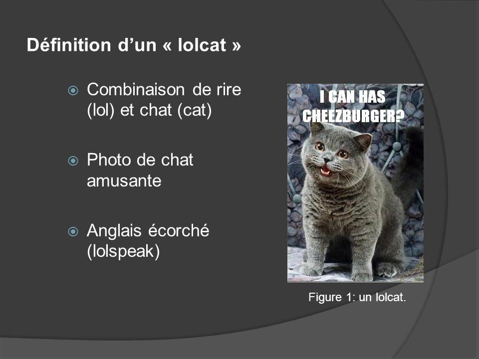 Définition dun « lolcat » Combinaison de rire (lol) et chat (cat) Photo de chat amusante Anglais écorché (lolspeak) Figure 1: un lolcat.