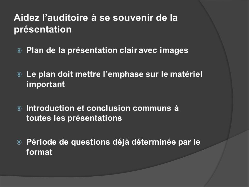 Aidez lauditoire à se souvenir de la présentation Plan de la présentation clair avec images Le plan doit mettre lemphase sur le matériel important Int