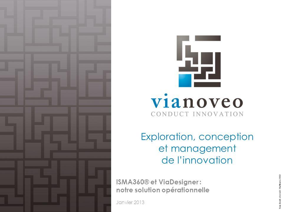 Tous droits réservés ViaNoveo 2013 Exploration, conception et management de linnovation ISMA360® et ViaDesigner : notre solution opérationnelle Janvie