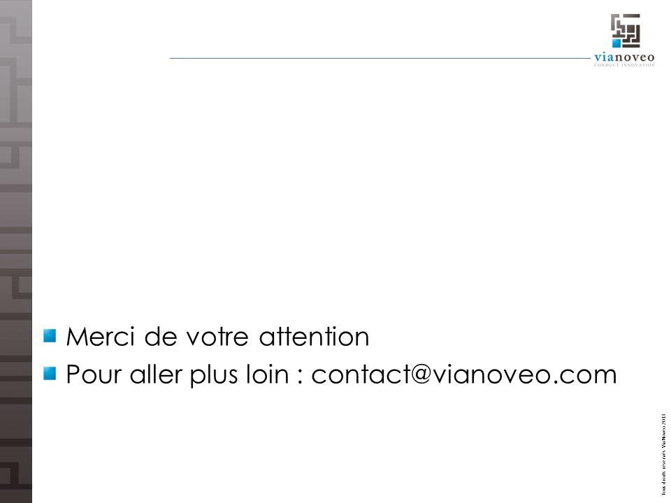 Tous droits réservés ViaNoveo 2013 Merci de votre attention Pour aller plus loin : contact@vianoveo.com
