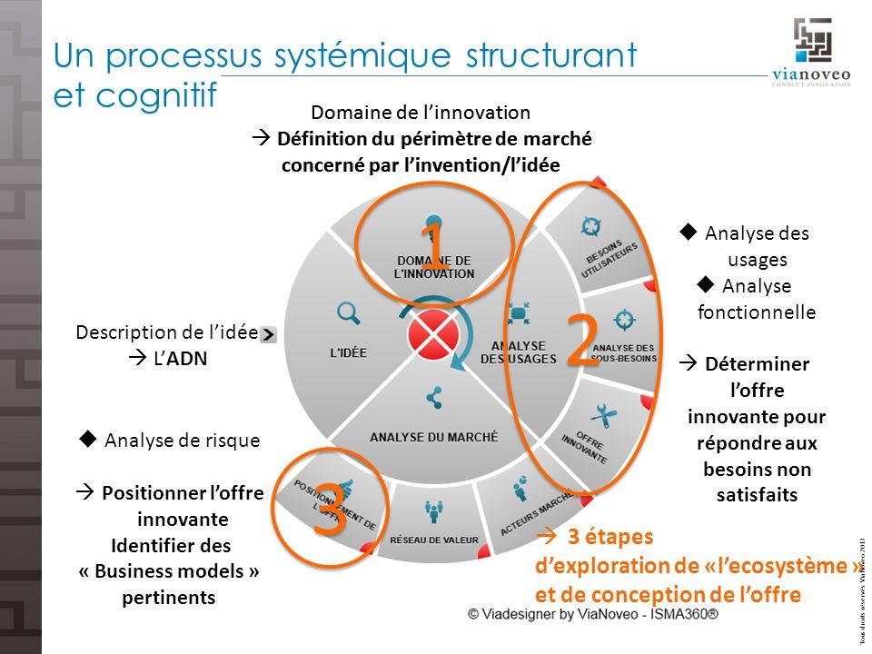 Tous droits réservés ViaNoveo 2013 Un processus systémique structurant et cognitif Domaine de linnovation Définition du périmètre de marché concerné p