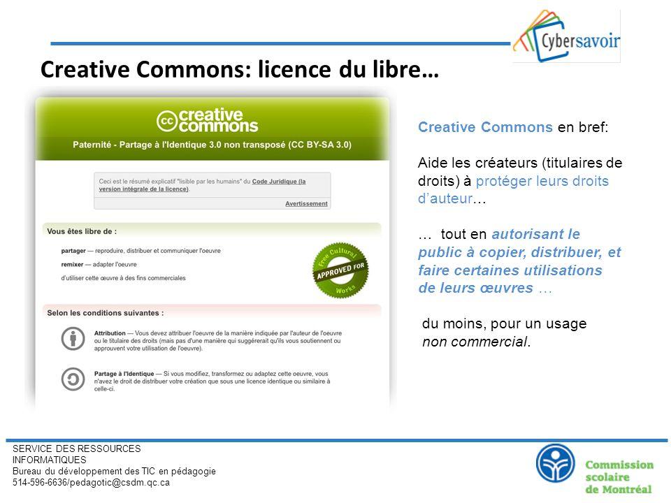 SERVICE DES RESSOURCES INFORMATIQUES Bureau du développement des TIC en pédagogie 514-596-6636/pedagotic@csdm.qc.ca Creative Commons: licence du libre