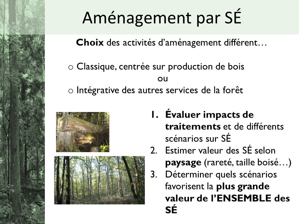 Choix des activités daménagement différent… o Classique, centrée sur production de bois ou o Intégrative des autres services de la forêt 1.Évaluer imp