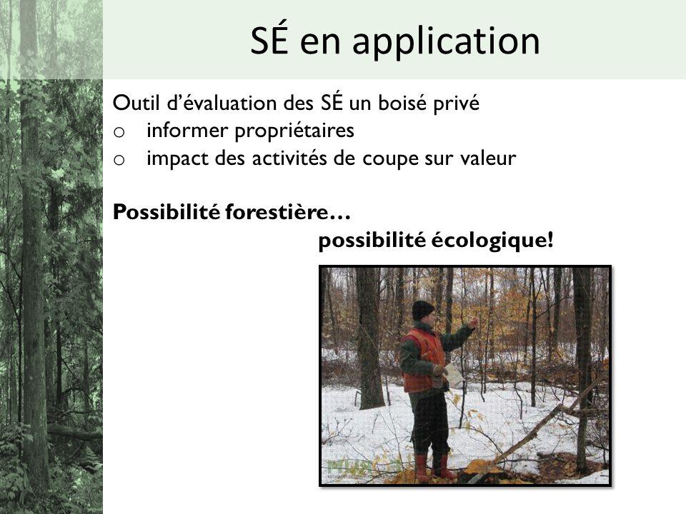 SÉ en application Outil dévaluation des SÉ un boisé privé o informer propriétaires o impact des activités de coupe sur valeur Possibilité forestière…