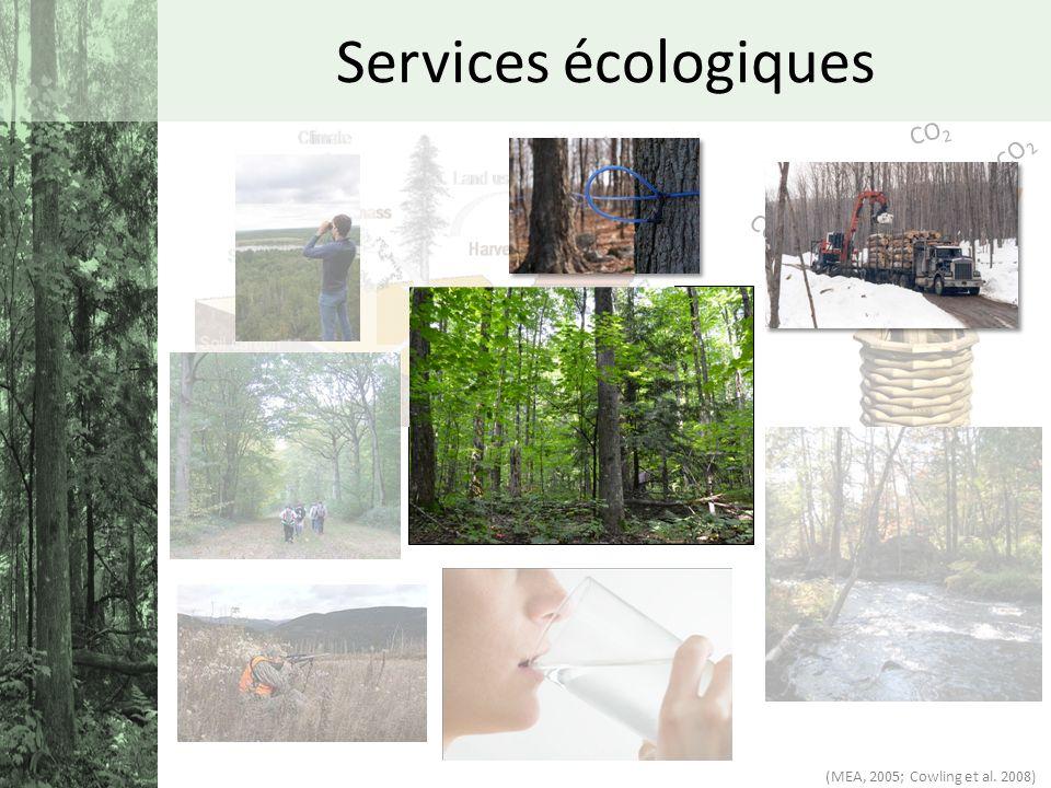 CO 2 Services écologiques (MEA, 2005; Cowling et al. 2008)