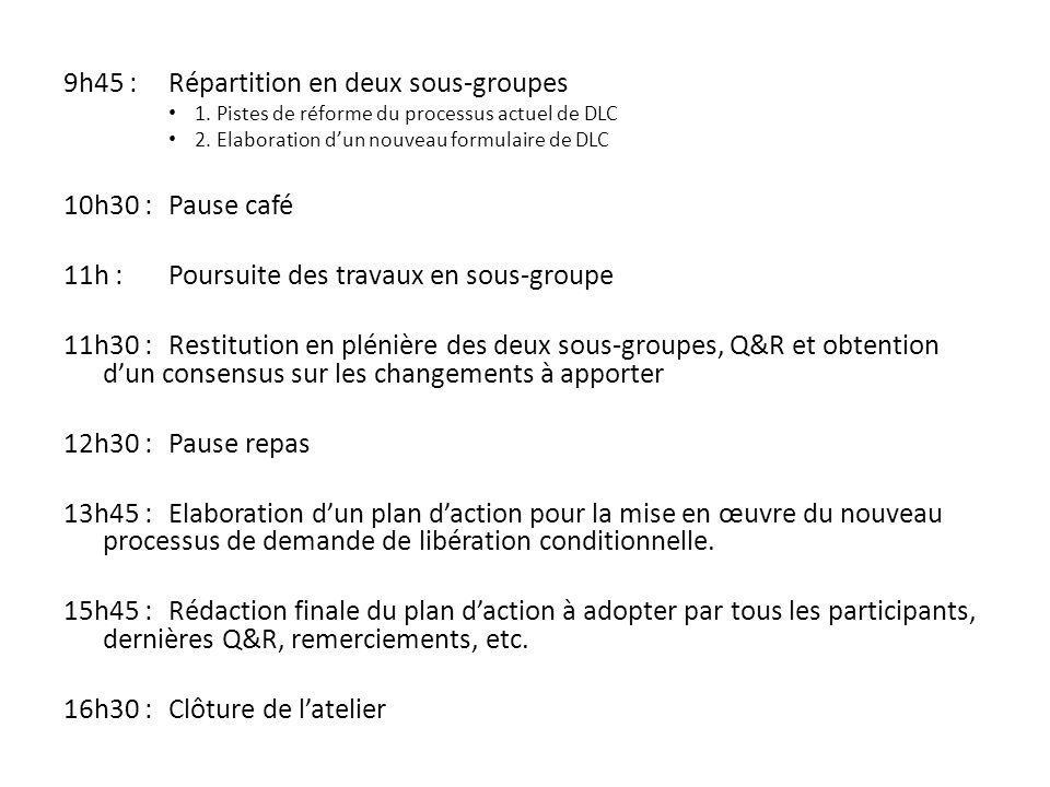 9h45 : Répartition en deux sous-groupes 1. Pistes de réforme du processus actuel de DLC 2.