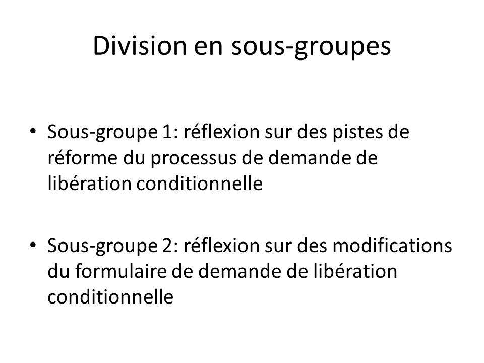 Division en sous-groupes Sous-groupe 1: réflexion sur des pistes de réforme du processus de demande de libération conditionnelle Sous-groupe 2: réflexion sur des modifications du formulaire de demande de libération conditionnelle