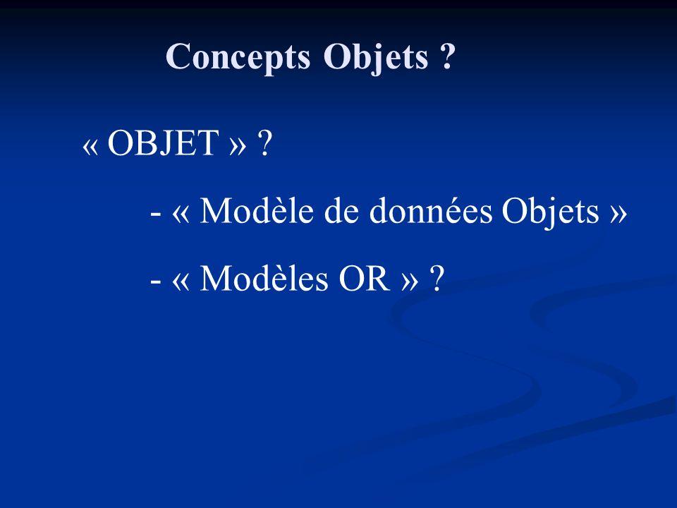 - « Modèle de données Objets » - « Modèles OR » ? Concepts Objets ?