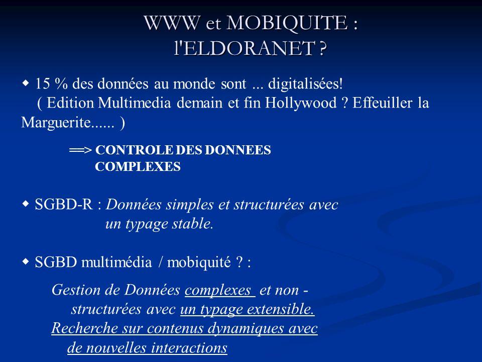 WWW et MOBIQUITE : l ELDORANET .15 % des données au monde sont...