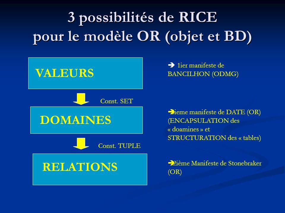 3 possibilités de RICE pour le modèle OR (objet et BD) VALEURS DOMAINES RELATIONS Const.