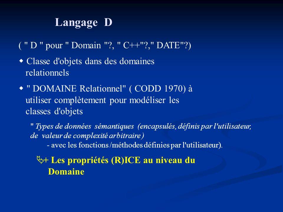 Langage D ( D pour Domain ?, C++ ?, DATE ?) Classe d objets dans des domaines relationnels DOMAINE Relationnel ( CODD 1970) à utiliser complètement pour modéliser les classes d objets Types de données sémantiques (encapsulés, définis par l utilisateur, de valeur de complexité arbitraire ) - avec les fonctions /méthodes définies par l utilisateur).