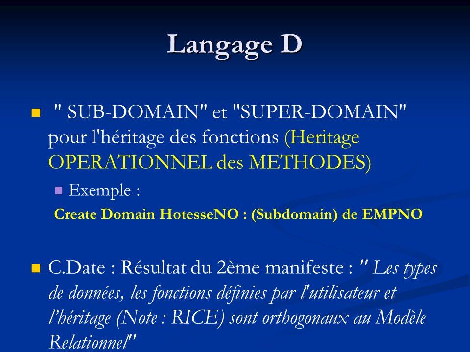 Langage D SUB-DOMAIN et SUPER-DOMAIN pour l héritage des fonctions (Heritage OPERATIONNEL des METHODES) Exemple : Create Domain HotesseNO : (Subdomain) de EMPNO C.Date : Résultat du 2ème manifeste : Les types de données, les fonctions définies par l utilisateur et lhéritage (Note : RICE) sont orthogonaux au Modèle Relationnel