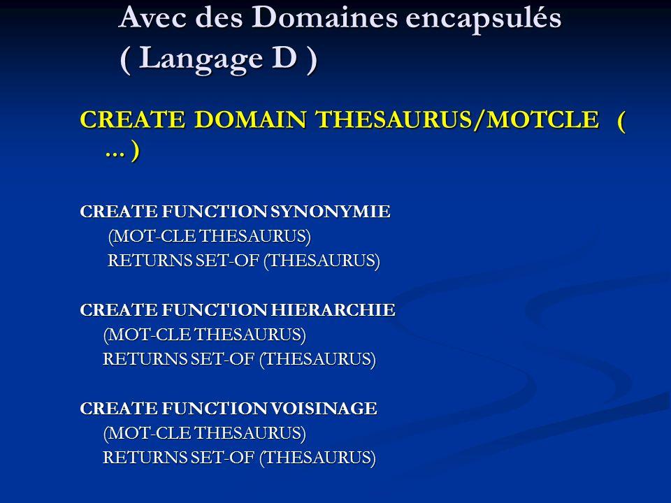 Avec des Domaines encapsulés ( Langage D ) CREATE DOMAIN THESAURUS/MOTCLE (...