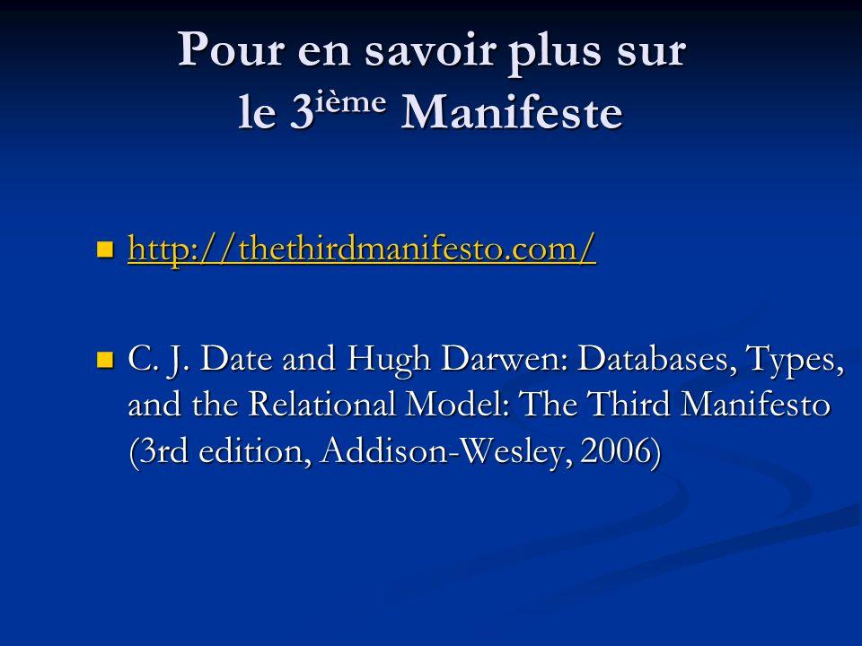 Pour en savoir plus sur le 3 ième Manifeste http://thethirdmanifesto.com/ http://thethirdmanifesto.com/ http://thethirdmanifesto.com/ C.