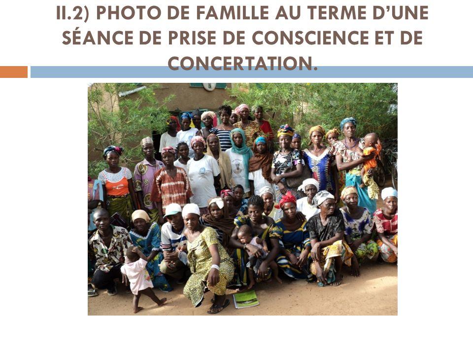 II.2) PHOTO DE FAMILLE AU TERME DUNE SÉANCE DE PRISE DE CONSCIENCE ET DE CONCERTATION.