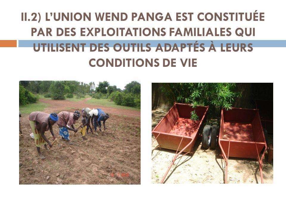 II.2) LUNION WEND PANGA EST CONSTITUÉE PAR DES EXPLOITATIONS FAMILIALES QUI UTILISENT DES OUTILS ADAPTÉS À LEURS CONDITIONS DE VIE