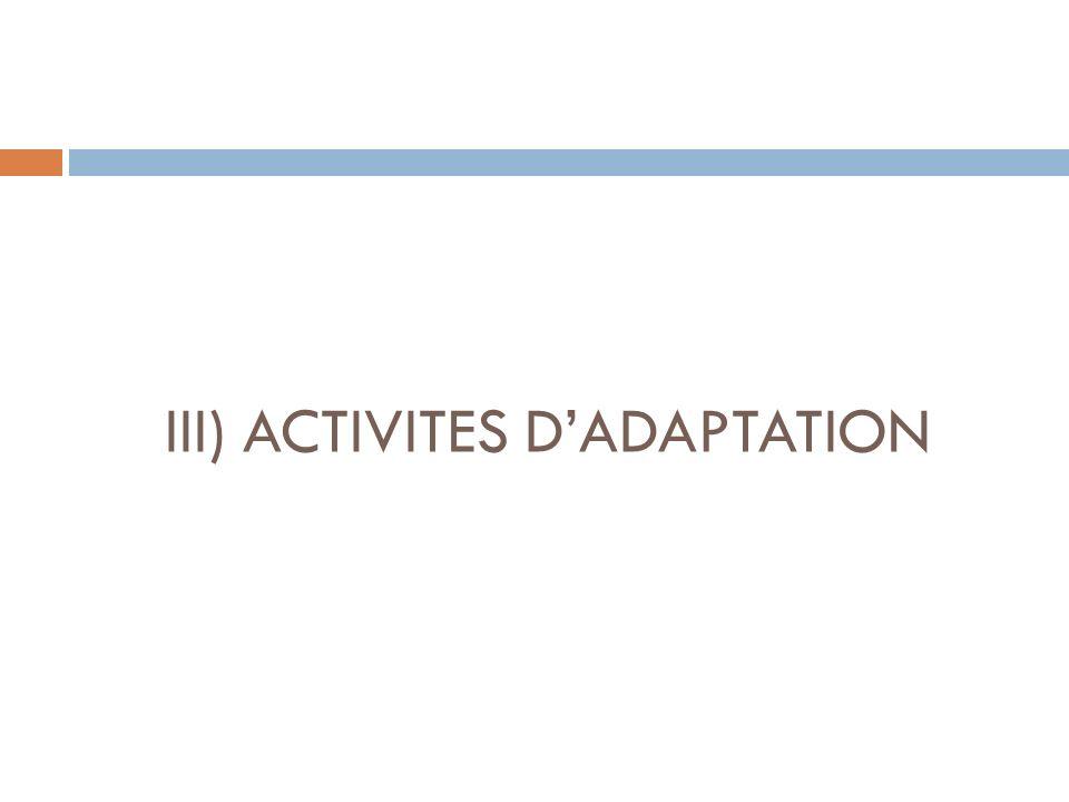 III) ACTIVITES DADAPTATION