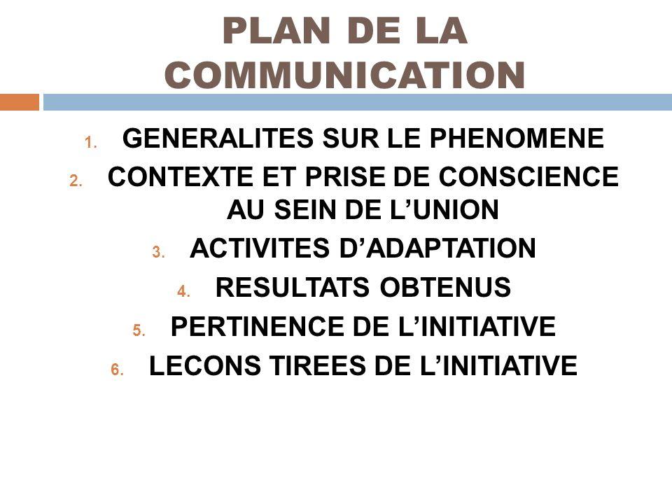 PLAN DE LA COMMUNICATION 1. GENERALITES SUR LE PHENOMENE 2. CONTEXTE ET PRISE DE CONSCIENCE AU SEIN DE LUNION 3. ACTIVITES DADAPTATION 4. RESULTATS OB