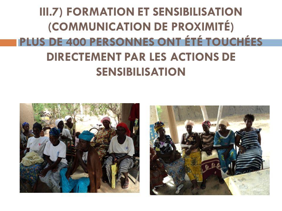 III.7) FORMATION ET SENSIBILISATION (COMMUNICATION DE PROXIMITÉ) PLUS DE 400 PERSONNES ONT ÉTÉ TOUCHÉES DIRECTEMENT PAR LES ACTIONS DE SENSIBILISATION