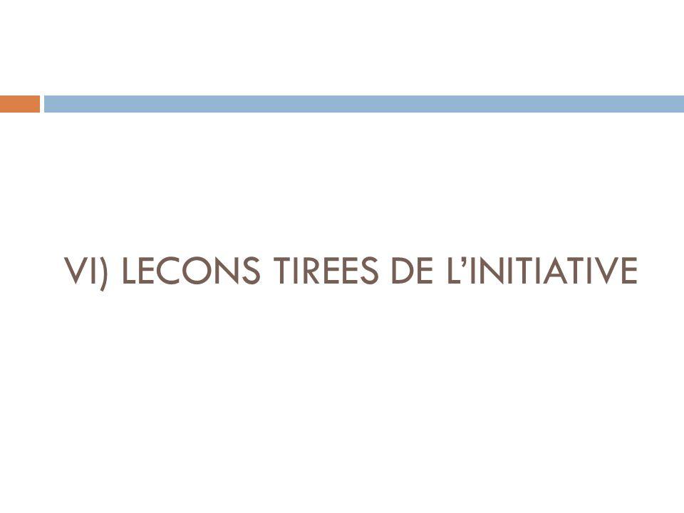 VI) LECONS TIREES DE LINITIATIVE
