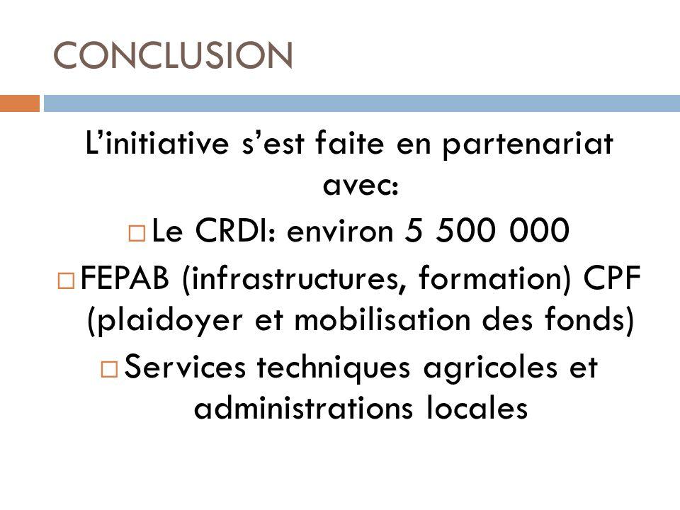 CONCLUSION Linitiative sest faite en partenariat avec: Le CRDI: environ 5 500 000 FEPAB (infrastructures, formation) CPF (plaidoyer et mobilisation de